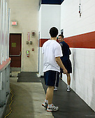 Chris Kreider (US - 15), Jack Campbell (US - 1) - Team USA warms up outside the rinks prior to their fourth game against Team Russia during the 2009 USA Hockey National Junior Evaluation Camp on Saturday, August 15, 2009, in Lake Placid, New York.