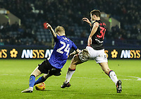 Bolton Wanderers' Yanic Wildschut competing with Sheffield Wednesday's Ashley Baker <br /> <br /> Photographer Andrew Kearns/CameraSport<br /> <br /> The EFL Sky Bet Championship - Sheffield Wednesday v Bolton Wanderers - Tuesday 27th November 2018 - Hillsborough - Sheffield<br /> <br /> World Copyright &copy; 2018 CameraSport. All rights reserved. 43 Linden Ave. Countesthorpe. Leicester. England. LE8 5PG - Tel: +44 (0) 116 277 4147 - admin@camerasport.com - www.camerasport.com