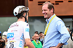 White Jersey Pierre Latour (FRA) AG2R La Mondiale chats with Tour Director Christian Prudhomme ASO at sign on before the start of Stage 21 of the 2018 Tour de France running 116km from Houilles to Paris Champs-Elysees, France. 29th July 2018. <br /> Picture: ASO/Alex Broadway | Cyclefile<br /> All photos usage must carry mandatory copyright credit (&copy; Cyclefile | ASO/Alex Broadway)