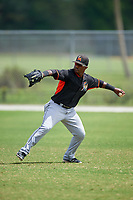 Miami Marlins Isael Soto (15) during practice before a minor league Spring Training intrasquad game on March 31, 2016 at Roger Dean Sports Complex in Jupiter, Florida.  (Mike Janes/Four Seam Images)