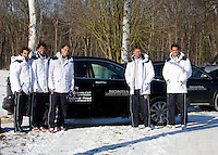 06-02-12, Netherlands,Tennis, Den Bosch, Daviscup Netherlands-Finland, Team with official Honda cars.