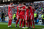 Girona FC's players celebrate goal during La Liga match between Real Madrid and Girona FC at Santiago Bernabeu Stadium in Madrid, Spain. February 17, 2019. (ALTERPHOTOS/A. Perez Meca)
