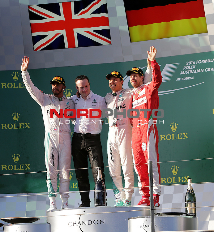 20.03.2016. Albert-Park-Circuit, Melbourne,  AUS, F1, Formula 1 Rolex Australien Grand Prix,  Race01 im Bild   <br /> Podium:<br /> 2.Platz f&uuml;r Lewis Hamilton (GB#44), Mercedes AMG Petronas Formula One Team, <br /> Sieger des Rennens Nico Rosberg (GER#6), Mercedes AMG Petronas Formula One Team,<br /> 3.Platz f&uuml;r Sebastian Vettel (GER#5), Scuderia Ferrari<br /> <br /> Foto &copy; nordphoto /  Bratic