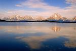 Mount Moran at right with its Skillet Glacier at Glacier National Park, Montana.