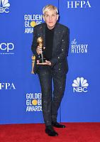 05 January 2020 - Beverly Hills, California - Ellen Degeneres. 77th Annual Golden Globes - Press Room held at Beverly Hilton Hotel. Photo Credit: Birdie Thompson/AdMedia