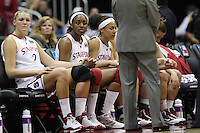 SAN ANTONIO, TX - APRIL 4:  Nnemkadi Ogwumike of the Stanford Cardinal during Stanford's 73-66 win over Oklahoma in the Final Four semi-finals at the Alamo Dome on April 4, 2010 in San Antonio, Texas. Also pictured is Jayne Appel and Rosalyn Gold-Onwude.