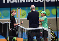 20131201,Netherlands, Almere,  National Tennis Center, Tennis, Winter Youth Circuit, , Discussion with umpire <br /> Photo: Henk Koster