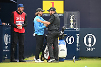 Tommy Fleetwood (ENG) and Shane Lowry (IRL) on the 1st tee during final round of the 148th Open Championship, Royal Portrush golf club, Portrush, Antrim, Northern Ireland. 21/07/2019.<br /> Picture Fran Caffrey / Golffile.ie<br /> <br /> All photo usage must carry mandatory copyright credit (© Golffile | Fran Caffrey)
