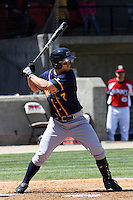 Cody Strait #7 of the Montgomery Biscuits hitting during a game against the Carolina Mudcats on April 18, 2010 in Zebulon, NC.