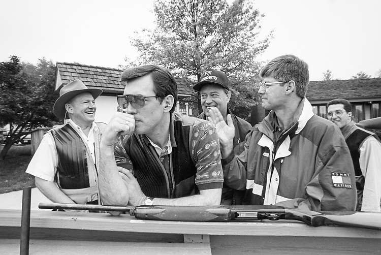 Skeet and Trap Shoot Contest. Former Rep. Dick Schultz, R-Pa., Rep. Jon Christensen, R-Nebr., Mike Oxley and Bart Stupale gather together for Skeet Shoot Contest on May 9, 1996. (Photo by Laura Patterson/CQ Roll Call)