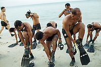 15 February, 2013 - Sihanoukville (Cambodia). Deminers from the Cambodian Mine Action Center (CMAC) get ready to snorkel in the waters of Independence Beach - Sihanoukville. © Thomas Cristofoletti / Ruom