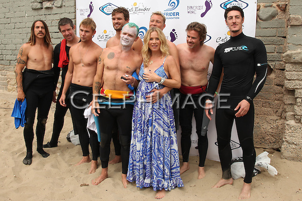 ANTHONY KIEDIS, ERIC AVERY, BRIAN GERAGHTY, AUSTIN NICHOLS, FLEA (Michael Peter Balzary), MARTYN LENOBLE, CHRISTINA APPLEGATE, SAM TRAMMELL, ERIC BALFOUR. 5th Annual Surfrider Foundation Expressions Session at Surfrider Beach. Malibu, CA, USA. September 11, 2010. ©CelphImage