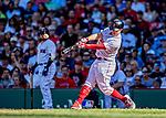 22 June 2019: Boston Red Sox second baseman Brock Holt at bat against the Toronto Blue Jays at Fenway :Park in Boston, MA. The Blue Jays rallied to defeat the Red Sox 8-7 in the 2nd game of their 3-game series. Mandatory Credit: Ed Wolfstein Photo *** RAW (NEF) Image File Available ***
