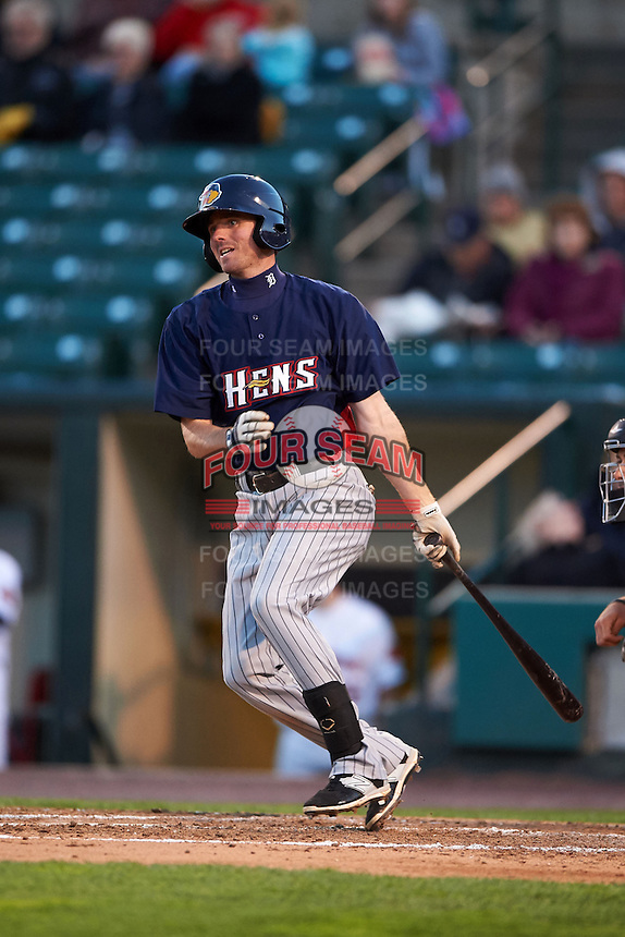 Toledo Mudhens second baseman Josh Wilson (6) at bat during a game against the Rochester Red Wings on May 12, 2015 at Frontier Field in Rochester, New York.  Toledo defeated Rochester 8-0.  (Mike Janes/Four Seam Images)