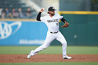 Charlotte Knights third baseman Trey Michalczewski (18) makes a throw to first base against the Scranton/Wilkes-Barre RailRiders at BB&T BallPark on August 14, 2019 in Charlotte, North Carolina. The Knights defeated the RailRiders 13-12 in ten innings. (Brian Westerholt/Four Seam Images)