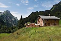 Austria, Vorarlberg, Bregenzerwald, Schroecken: district Unterboden with Hochkuenzelspitze mountain, 2.397 m