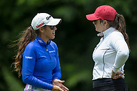 Maria Fassi (left) talks to her caddy Olivia Lavy, both former Arkansas golfers, Tuesday, June 23, 2020, during the pro-am round of the Cooper Northwest Arkansas Charity Classic golf tournament at Bella Vista Country Club. Go to nwaonline.com/200624Daily/ to see more photos.<br /> (NWA Democrat-Gazette/Ben Goff)