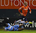 Picture by David Horn/eXtreme Aperture Photography +44 7545 970036<br /> 26/11/2013<br /> Luke Guttridge of Luton Town (right) is fouled by Joel Logan of Southport during the Skrill Premier match at Kenilworth Road, Luton.