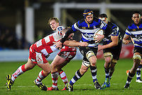 Paul Grant of Bath Rugby takes on the Gloucester Rugby defence. Anglo-Welsh Cup match, between Bath Rugby and Gloucester Rugby on January 27, 2017 at the Recreation Ground in Bath, England. Photo by: Patrick Khachfe / Onside Images