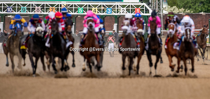 LOUISVILLE, KENTUCKY - MAY 03: Jockey Manuel Franco stands up after being unseated from his mount Positive Spirit in the Kentucky Oaks at Churchill Downs in Louisville, Kentucky on May 03, 2019. Both rider and horse were uninjured. Evers/Eclipse Sportswire/CSM