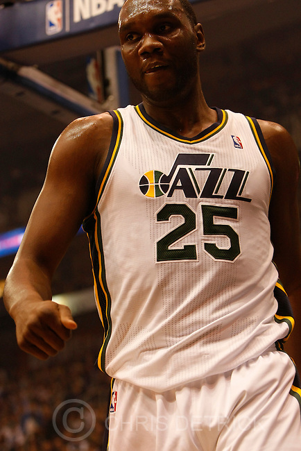 Chris Detrick     The Salt Lake Tribune .Utah Jazz center Al Jefferson #25 during the first half of the game Thursday October 28, 2010.  Phoenix is winning the game 58-42.