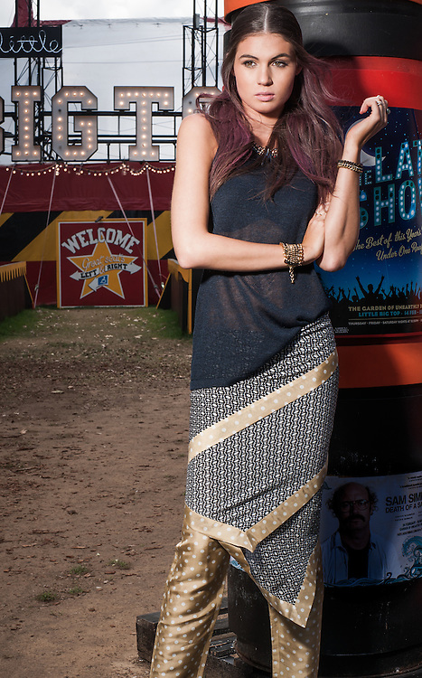 Fashion with Mirella, Festival fashion at the Garden of unearthly delights.Pic:Nick Clayton
