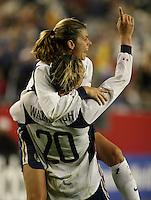 Mia Hamm and Abby Wambach celebrate win over Norway. 2003 WWC USA/Norway quarter final.