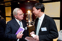 Antoine MAFFEI, Partner, De Pardieu Brocas Maffei (left) and Lawrence AU, Head for Asia-Pacific, BNP Paribas Securities Services (right) at Shanghai / Paris Europlace Financial Forum, in Shanghai, China, on December 1, 2010. Photo by Lucas Schifres/Pictobank