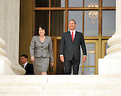 Washington, DC - September 8, 2009 -- Associate Supreme Court Justice Sonia Sotomayor Sonia Sotomayor and Chief Justice of the United States John G. Roberts, Jr. come out for photos following the investiture ceremony in honor of Justice Sotomayor at the United States Supreme Court in Washington, D.C. on Tuesday, September 8, 2009..Credit: Ron Sachs / CNP