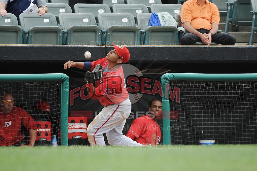 Harrisburg Senators infielder Adrian Sanchez (34) during the game against the Trenton Thunder at ARM & HAMMER Park on May 21, 2014 in Trenton, New Jersey.  Harrisburg defeated Trenton 9-0.  (Tomasso DeRosa/Four Seam Images)