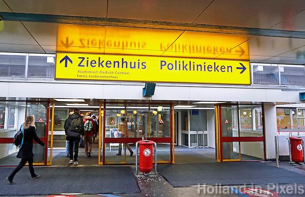 Nederland Amsterdam 2017 01 25. Amsterdam Medisch Centrum ( AMC ). Ingang. Foto Berlinda van Dam / Hollandse Hoogte