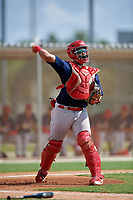 GCL Cardinals catcher Ivan Herrera (32) throws to first base during a game against the GCL Marlins on August 4, 2018 at Roger Dean Chevrolet Stadium in Jupiter, Florida.  GCL Marlins defeated GCL Cardinals 6-3.  (Mike Janes/Four Seam Images)