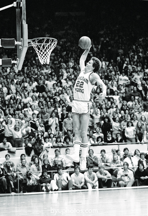 BKB 610 B-37A.Jan 24, 1981.Danny Ainge dunks the ball in a BYU vs Wyoming game...Photo by Mark Philbrick/BYU