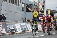 race winner Dylan Groenewegen (NED/Lotto NL - Jumbo). He beats teammates John Degenkolb and Jasper Stuyven. <br /> <br /> 103th Kampioenschap van Vlaanderen 2018 (UCI 1.1)<br /> Koolskamp &ndash; Koolskamp (186km)