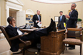 United States President Barack Obama meets with National Security Advisor Tom Donilon, Chief of Staff Jack Lew, and Deputy National Security Advisor Denis McDonough in the Oval Office, November 14, 2012. .Mandatory Credit: Pete Souza - White House via CNP