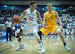 February 4, 2017:  Air Force forward, Ryan Manning #32, works against Cowboy, Jason McManamen #23, during the NCAA basketball game between the Wyoming Cowboys and the Air Force Academy Falcons, Clune Arena, U.S. Air Force Academy, Colorado Springs, Colorado.  Wyoming defeats Air Force 83-74.