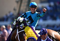 DEL MAR, CA - NOVEMBER 04: Joel Rosario, aboard Stormy Liberal #4 celebrates winning the Breeders' Cup Turf Sprint race on Day 2 of the 2017 Breeders' Cup World Championships at Del Mar Racing Club on November 4, 2017 in Del Mar, California. (Photo by Jamey Price/Eclipse Sportswire/Breeders Cup)