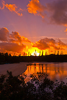 Sunset, Le Meredien Ile des Pins beach resort hotel, Baie d'Oro (Oro Bay), Ile des Pins (Isle of Pines), New Caledonia