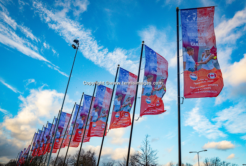 Den Bosch, The Netherlands, Februari 07 2019,  Maaspoort , FedCup  Netherlands - Canada, flaggs<br /> Photo: Tennisimages/Henk Koster
