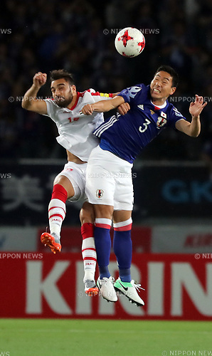 June 7, 2017, Tokyo, Japan - Japan's Gen Shoji (R) fights the high ball against Syrian player during a friendly match between Japan and Syria Kirin Challenge Cup in Tokyo on Wednesday, June 7, 2017. Japan and Syria drew the game 1-1.  (Photo by Yoshio Tsunoda/AFLO) LwX -ytd-
