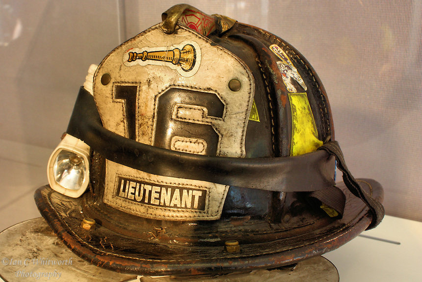 Firefighter helmet on display at the ground zero memorial