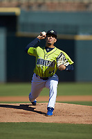 Columbia Fireflies starting pitcher Jose Butto (45) in action against the Rome Braves at Segra Park on May 13, 2019 in Columbia, South Carolina. The Fireflies walked-off the Braves 2-1 in game one of a doubleheader. (Brian Westerholt/Four Seam Images)