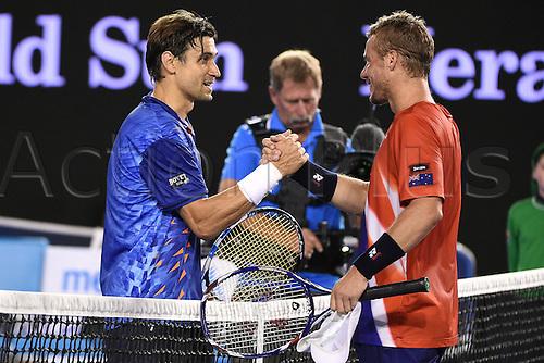 22.01.2016. Melbourne Park, Melbourne, Australia, Australian Open Tennis Championships.  Lleyton Hewitt (AUS)shakes hands with David Ferrer (ESP)