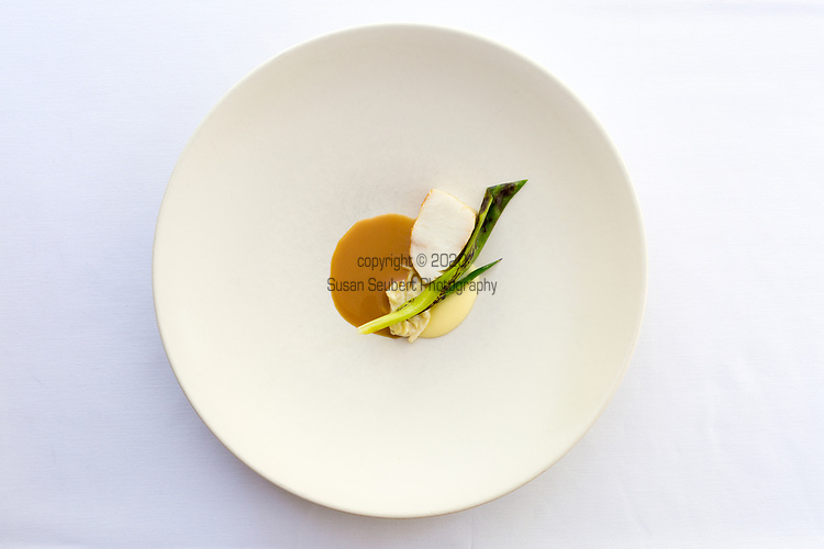 Cobia, concentrate of fish bones at Castagna Restaurant in Portland, OR, a clean-lined, minimalist restaurant serving fixed-price, high-end modernist Northwest dinners.