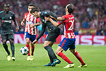 Atletico de Madrid's Juanfran Torres and Chelsea's Alvaro Morata during UEFA Champions League match between Atletico de Madrid and Chelsea at Wanda Metropolitano in Madrid, Spain September 27, 2017. (ALTERPHOTOS/Borja B.Hojas)
