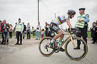 World Champion Peter Sagan (SVK/Bora-Hansgrohe) solo in pursuit of the 2 leaders<br /> <br /> 116th Paris-Roubaix (1.UWT)<br /> 1 Day Race. Compiègne - Roubaix (257km)