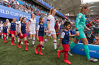 REIMS,  - JUNE 24: Becky Sauerbrunn #4, Samantha Mewis #3 and Alyssa Naeher #1 walk out during a game between NT v Spain and  at Stade Auguste Delaune on June 24, 2019 in Reims, France.