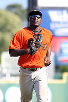 Xavier Avery #32 of the Frederick Keys running in from the outfield during a game against the Myrtle Beach Pelicans on May 2, 2010 in Myrtle Beach, SC.