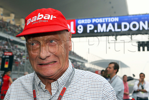 28.10.2012. New Delhi, India. Former Austrian Formula One World Champion Niki Lauda seen before the start of the Formula One Grand Prix of India at the race track Buddh International Circuit, Greater Noida, India, 28 October 2012.
