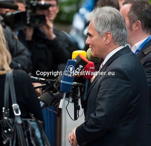 Brussels-Belgium - May 27, 2014 -- European Council, EU-summit, meeting of Heads of State / Government for an informal dinner to evaluate and to conclude the results of the European elections; here, arrival of Werner FAYMANN, Federal Chancellor of Austria -- Photo: © HorstWagner.eu